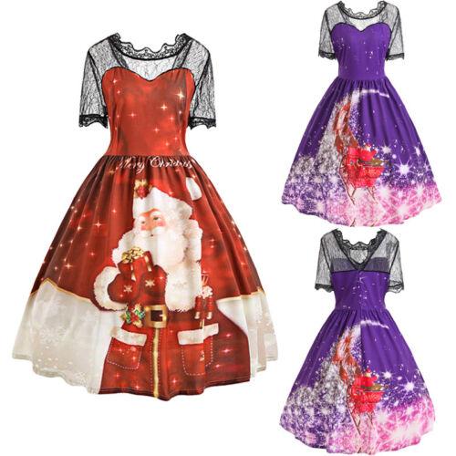 Plus Size 5xl Christmas 50s Swing Dress Rockabilly Pin Up Retro