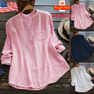 - Women Retro V Neck Long Sleeve Casual Loose Baggy Tunic Tops Blouse Plus Size