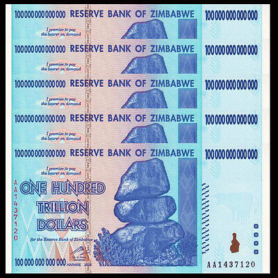 ZIMBABWE SET 4; 10 20 50 100 TRILLION DOLLARS SET 2008 P 88 89 90 91 UNC