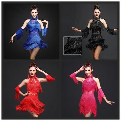 Frauen Sexy Latin Salsa Tango Ballsaal Tanzkostüm Kleid Quasten Fransen (Tango Ballett Kostüm)