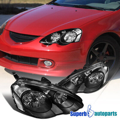 For 2002-2004 Acura RSX Crystal Headlights Head Lamps Black