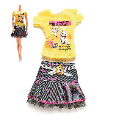2 Pcs/set  Handmade Blouse Outfit Casual Wear Clothes Skirt For Barbie Doll ^G