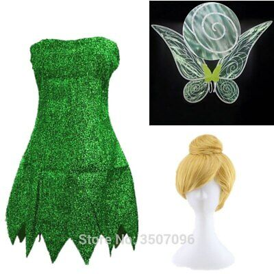 Tinker Bell Adult (Adult Fairy Tinkerbell Mini Dress / Wig / Wing Tinker Bell Halloween Cosplay)