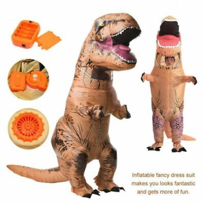 Dinosaur Costume Adults (Adults Inflatable Dinosaur T-REX Costume Jurassic Halloween Blowup Outfit USB)
