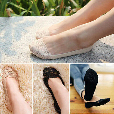 Women Lady Cotton Lace Antiskid Invisible Liner No Show Low Cut Socks New