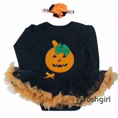 Baby Girls 1st Halloween outfit Tutu Romper Pumpkin Costume Fancy Dress Scary - Baby Girl Halloween Costumes Uk