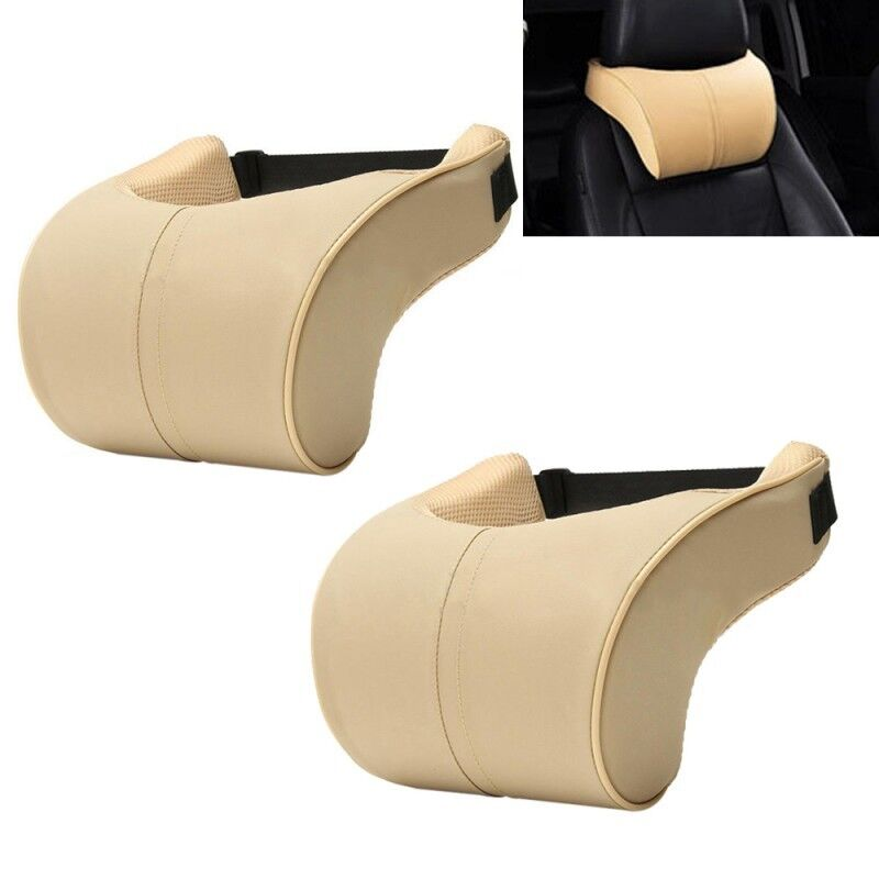 1Pair PU Leather Car Memory Foam Pillows Seat Head Neck Headrest Rest Cushion