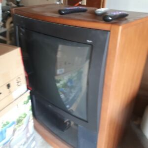 "RCA Home Theatre 36"" TV in nice wood cabinet with wheels"
