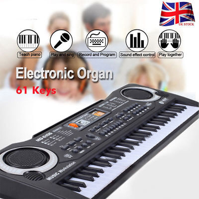 61 Key Digital Electronic Keyboard & Microphone Electric LED Piano Organ UK