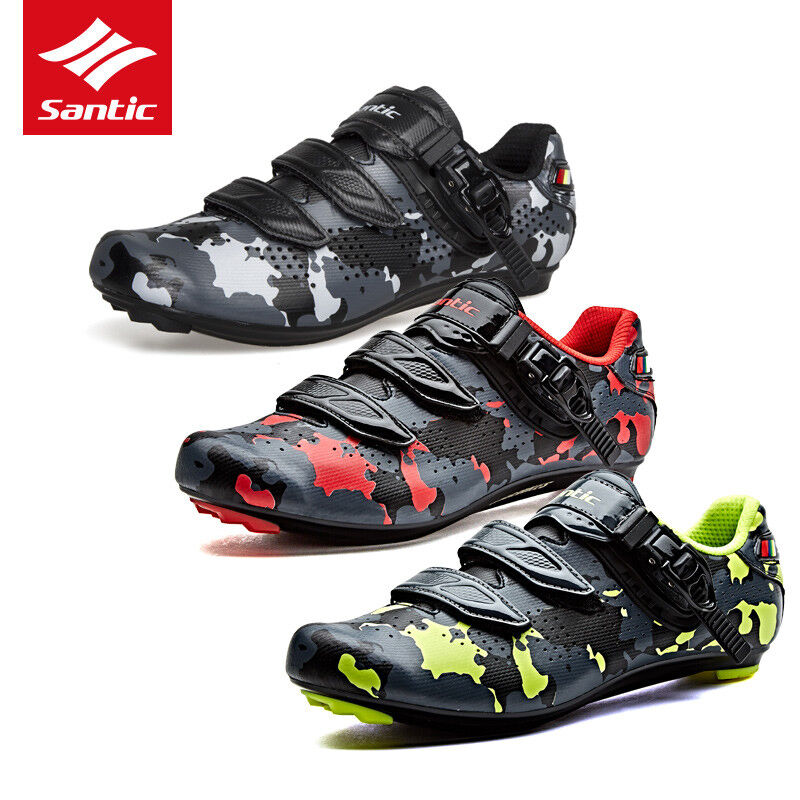 Santic Men Road Bike Cycling Bicycle Camouflage Shoes Self-l