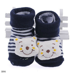 Newborn Baby Unisex Indoor Anti-slip Warm Socks Animal Cartoon Shoes Boots DDN