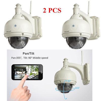 2X Wireless IP Camera PT Dome IR Tenebrosity Perception WiFi IR-Cut Open-air Protection Cam P