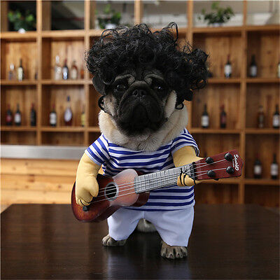 Funny Pet Guitar Player Dog Costume Dress Up Party Cosplay Clothes For Dogs Cats](Funny Musician Halloween Costumes)