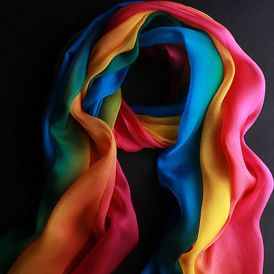 New Fashion Rainbow Color Long Soft Women Chiffon Scarf Wrap Shawl Stole Scarves