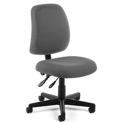 Armless Grey Fabric Ergonomic Posture Task Office Desk Chair