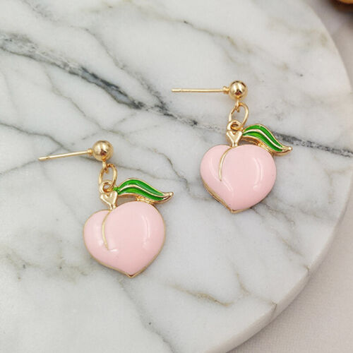 1 pair enamel peach drop dangle earrings