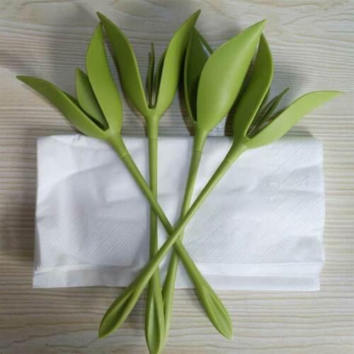 4pcs/Set Bloom Napkin Holders for Tables Green Plastic Twist