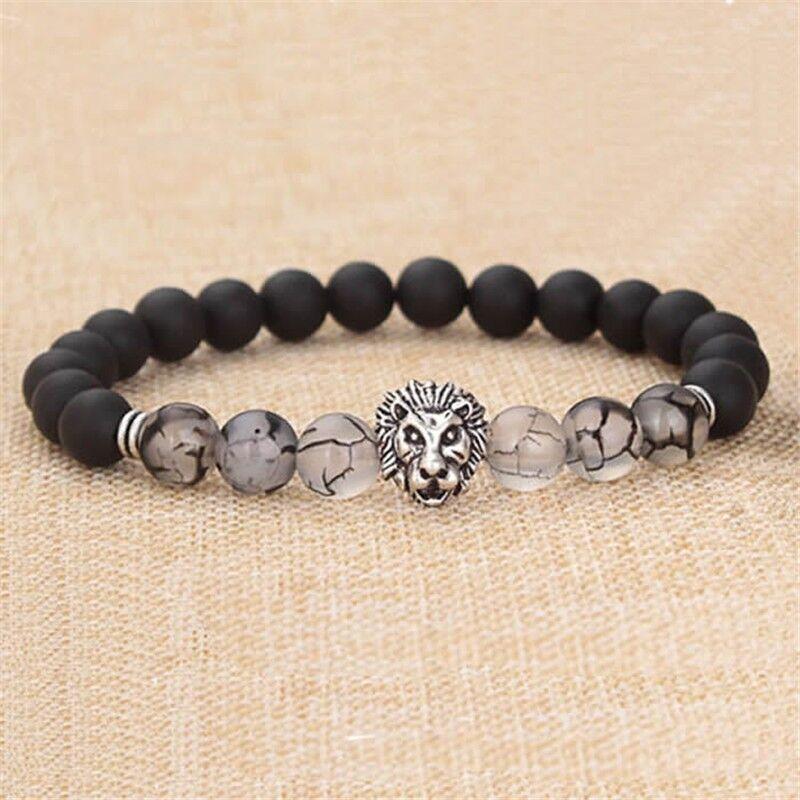 Bracelet - Hot Men Fashion Black Lava Stone Silver Lion Beaded Cuff Charm Bangle Bracelet