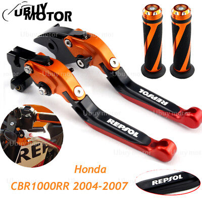Brake Lever Grips - Repsol Clutch Brake Levers and Grips For HONDA CBR1000RR 2004 05 06 2007