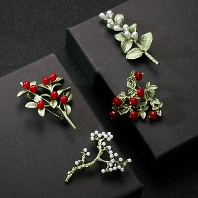 Charm Women Enamel Red White Pearl Tree Leaves Branch Plant Brooch Pin Jewelry