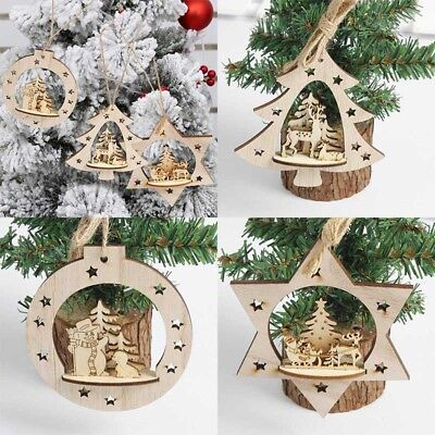 Christmas Tree Wooden Hanging Pendant Carving Wedding Xmas Party Decor Oranment