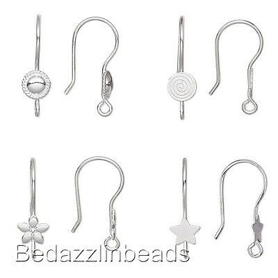 10 Hook Earring Findings with Accent and Loop Silver Plated Over Stainless -