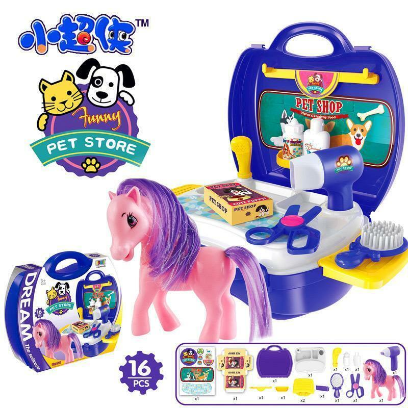 Kids+Pretend+Play+Pony+horse+Store+Grooming+Pet+Salon+Set+Carry+Case