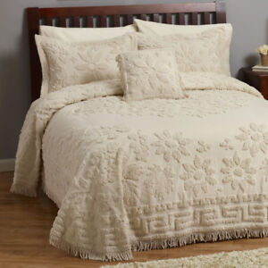 Sabrina 1 Pc. Chenille Bedspread Set Blue Only - King, New