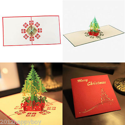3D Pop Up Origami Greeting Christmas Tree Best Wishes Cards Stereoscopic Wishes ()
