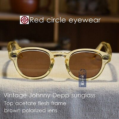 Fashion polarized sunglasses Johnny Depp eyeglasses mens flesh frame brown lens ()