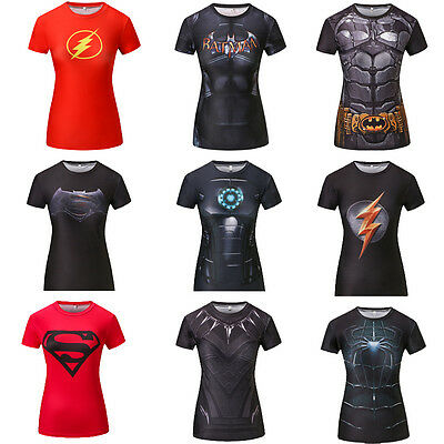 Female Casual T Shirt Superhero Women Superman Captain America Batman Print Top  (Female Batman)