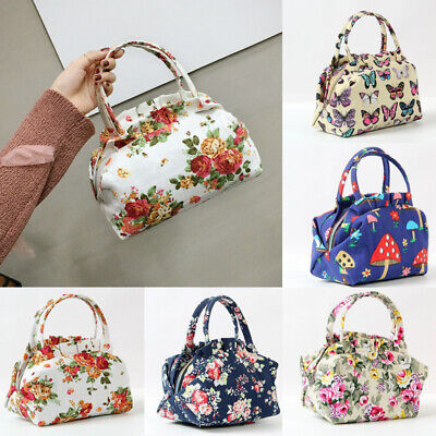 Insulated Lunch Bag Thermal Cooler Women Picnic Food Box Floral Handbag -