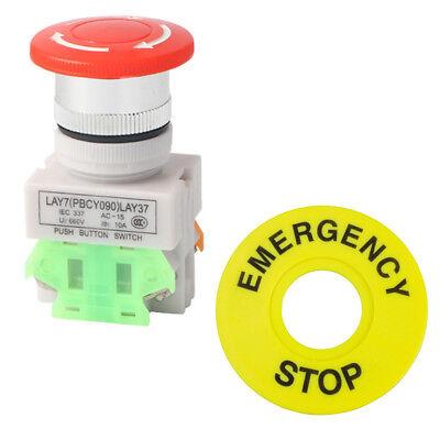 1no 1nc Dpst Emergency Stop Latching Push Button Switch 10a Mushroom Cap