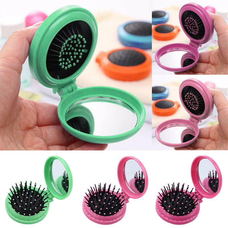 Portable Travel Folding Hair Brush Comb With Mirror Compact