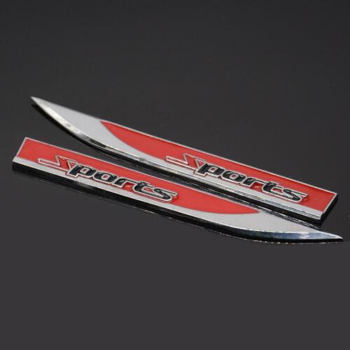 Car Bady Side Fender Sticker Red Sports Emblem Metal Dagger Badge Decal Racing