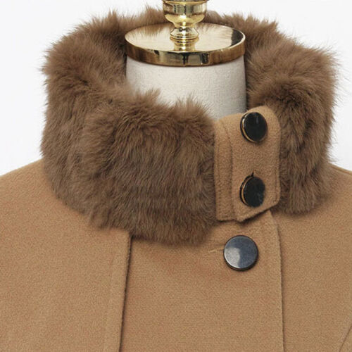 Women Thicken Fur Collared Winter Long Peacoat Coat Trench Outwear Jacket Dress 8