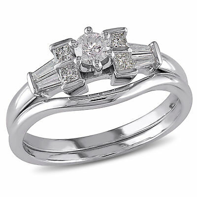 Amour 1/2 CT TW Diamond Floral Bridal Set in 10k White Gold 2ct Tw Diamond Setting