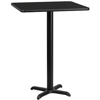 30 Square Black Laminate Table Top With 22 X 22 Bar Height Base