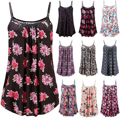 Womens Summer Strappy Tops Cami Dress Ladies Beach Sleeveless Floral Vest Dress