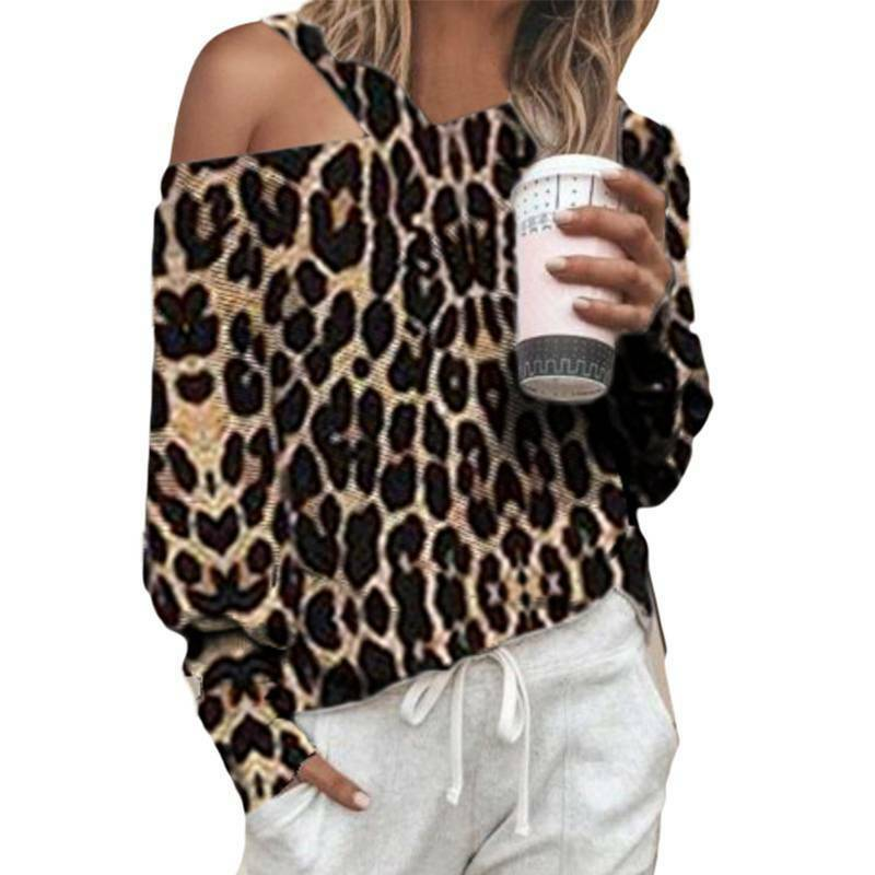 Damen Langarm T-shirt Bluse Leopard Top Lose Lässig Party Pullover Mode Oberteil