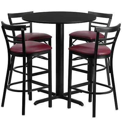 Restaurant Table Chairs 24 Black Laminate With 4 Ladder Back Metal Bar Stools