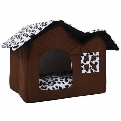 Mascota Casa Plegable Cama Con Alfombrilla Suave Invierno Perros Perrito Sofá