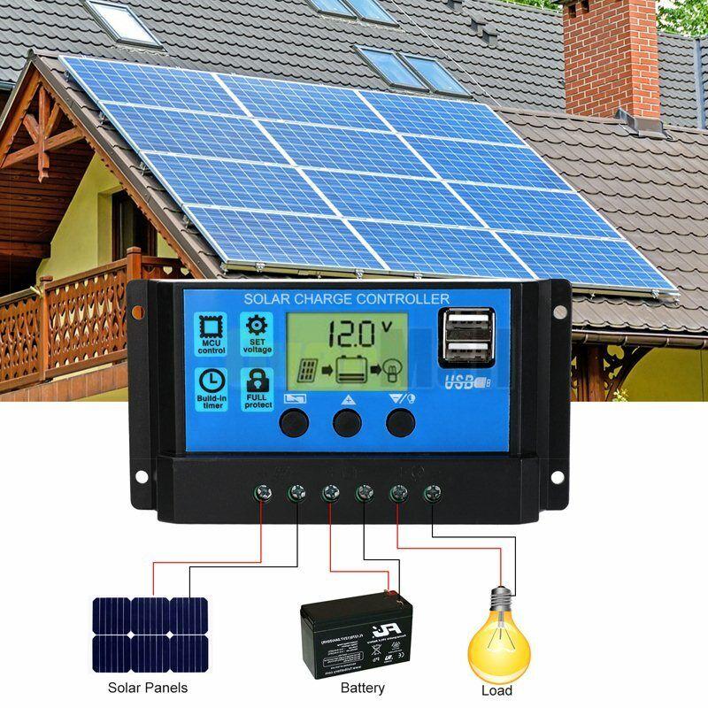 MPPT Solar Panel Regulator Charge Controller Auto Focus Tracking 30-100A 12V/24V 6