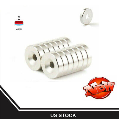 1-200x Strong Countersunk Ring Magnets 12 X 3mm Rare Earth Neodymium 3mm Hole