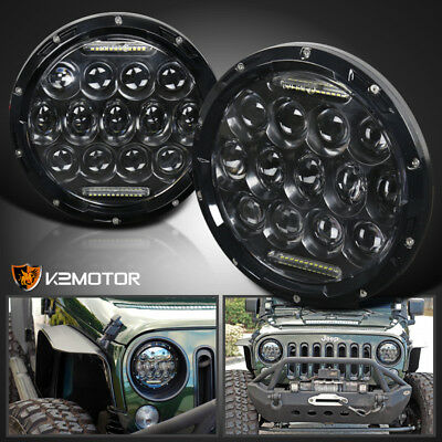 "2X 7"" Round 75W LED Headlights Hi/Low Sealed Beam DRL For Jeep Wrangler TJ JK"
