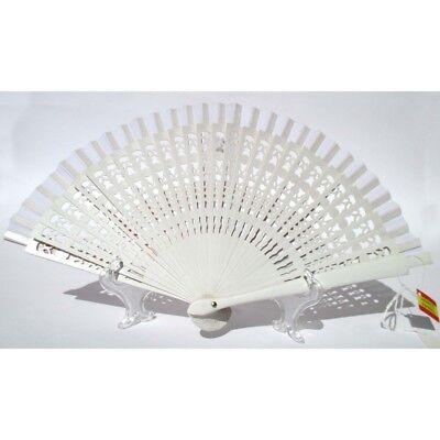 Abanico Elegante de Madera Blanco Y Algodón Con Diseños Fiorati. Adecuado Para