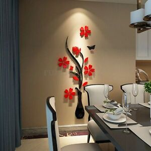 3d flor mariposa diy espejo pegatinas de pared art vinilo for Pegatinas vinilo decoracion