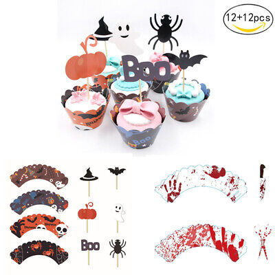 Halloween Cupcake Liner (24Pcs Halloween Cupcake Wrapper Case Party Muffin Liner Bat Spider Cake Toppers)