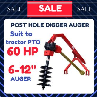 """POST HOLE DIGGER AUGER TRACTOR PTO 50-60HP SUIT to 6-12""""  CAT 1"""