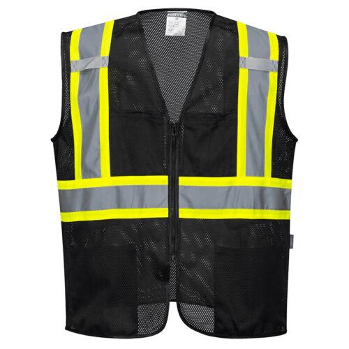 Black Safety Vest High Visibility Hi Vis Contrast Reflective Tape Mesh All Sizes